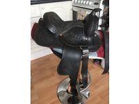 Western Leather Pony Saddle Dark Havannah/Black 12 Inch Seat Saddle Pad Plus Cinch