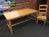Farmhouse hardwood table and chairs