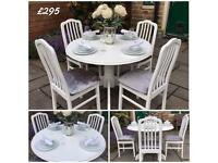 Round Dining Table & 4 Chairs ~ White ~ Silver Grey Crushed Velvet