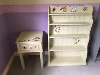 Childs matching soft green bedside cabinet and bookcase, with hand painted stencilling
