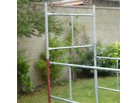 6ft x 4ft scaffold tower, hardly used, with 2no platforms, with ad feet and wheels, and 2 outriggers