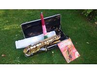 Gear4Music Alto Saxophone Black & Gold