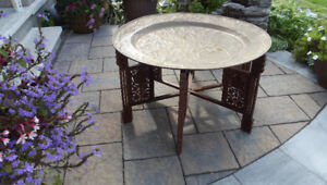 VINTAGE  BRASS AND  TEAK  MOROCCAN COFFEE TABLE