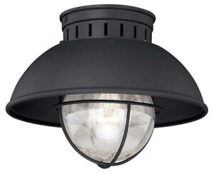 NEW! Vaxcel Harwich Outdoor Ceiling Light, Textured Black