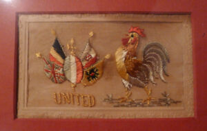 Silk embroidered postcards WW1 framed collection + paper