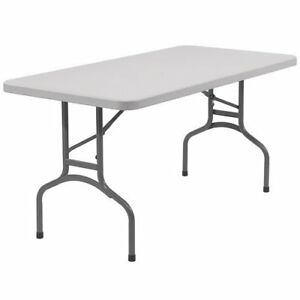 Indoor Outdoor Folding Table Rectangular 60 x 30 x 29 in Gray