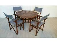 Solid Wood Garden Table and 4 Foldable Chairs 001