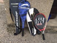 2 short tennis racquets/2 squash racquets with covers