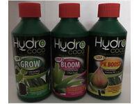 *NEW* Hydro coco nutrient solution 3 x 200ml. Hydroponics NFT DWC