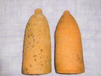 antique terracota milk bottle coolers