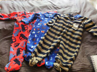 18-24 Month 3 x Fleece Sleepsuits All For £1.00