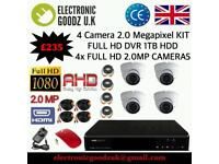 4CH Full HD CCTV System, 4ch HD DVR inc 4 HD Dome Cameras & All Cables