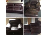 3 Piece Suite plus Footstool Brown Leather from Sofology