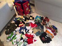 Build a bear bundle with 2 bears, blue wardrobe, foldout chair/bed, tent and lots of clothes