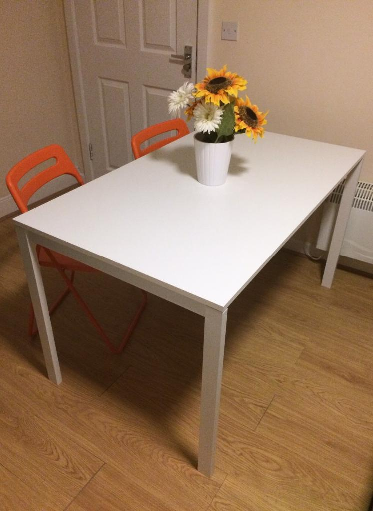 table 125x75 cm white ikea melltorp in bletchley buckinghamshire gumtree. Black Bedroom Furniture Sets. Home Design Ideas