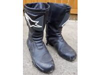 Alpinestars size 11 leather bike boots good condition