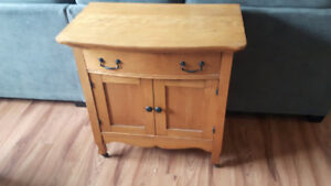 Solid hardwood country kitchen hutch cabinet on casters – $200