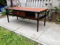 Long Solid Mahogany Danish Style Coffee Table VGC