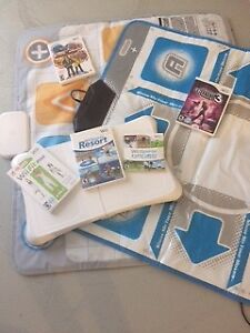 Wii console, games and mats.