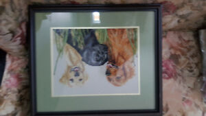3 labs cross stitch. With professional frame!