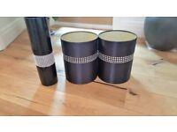 Diamantie Black Lamp Shades & Vase