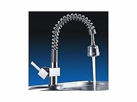 Brand New Boxed Modern Style Chrome Kitchen Sink Mixer Swan Tap Pull Out Spray