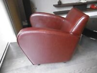 Brown leather armchair for sale
