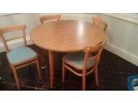Vintage 70-ies dining table with 4 chairs