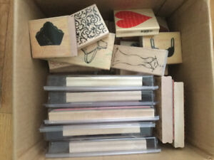 Large box of wood rubber stamps