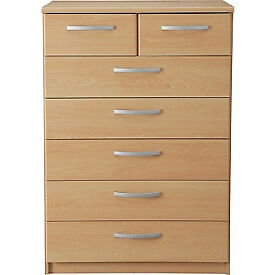 New Hallingford 5+2 Drawer Chest - Beech Effect