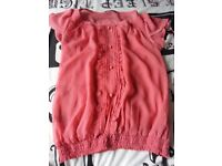 Size 10 ladies clothes bundle of 13 tops blue pink gem work leotard- from a pet & smoke free home