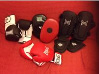Boxing gear: 2 x sets of gloves, focus pads and shin pads - only lightly used