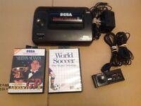 Sega Master System Console With Alex Kidd + 2 games World soccer, Alton Senna's Super Monaco GP 2