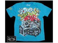 Shiroi Neko Japanese Tatto Design Blue Cotton T Shirt