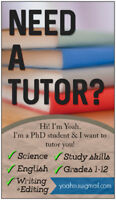 Experienced Science and English Tutor (PhD Student)