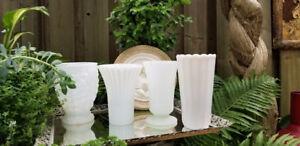 "Vintage Milk Glass 8 & 9"" Tall Vases, Wedding Centerpieces"