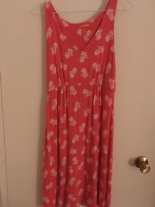 Coral Pineapple Print Dress