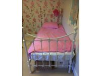 Laura Ashley white metal single bed (without mattress)