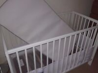£60 As New. Used 3 months. Kit Cot with best quality Matress of John Lewis Store and Airwrap 4Sided