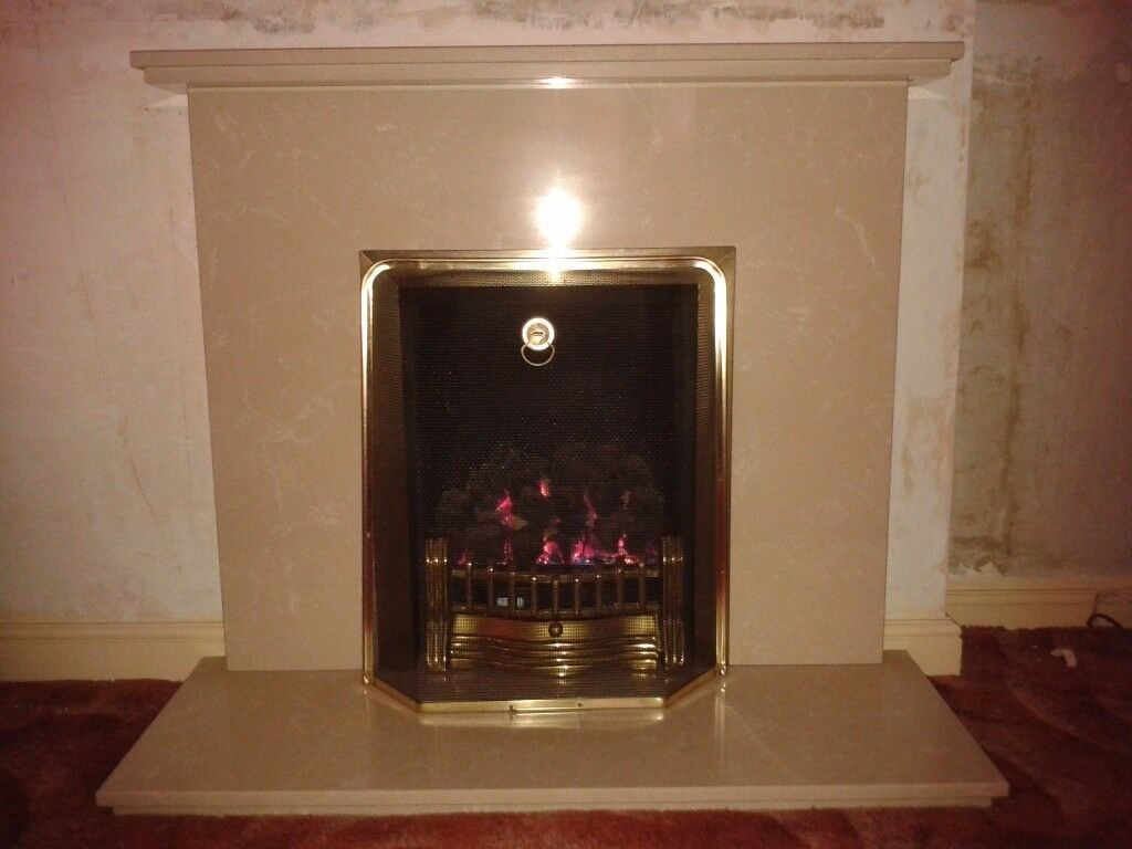 marble composite fireplace and living flame gas fire in