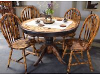 Pine Burn Solid Wood Round Dining Table & 4 Chairs