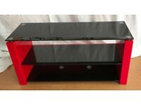 Techlink TV stand. Red and black glass B2R bench stand