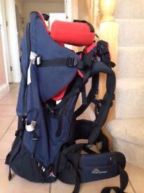 Macpac Vamoose baby carrier with sleepy head headrest and sunshade/rain cover
