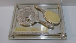 VINTAGE SILVER PLATED 3 PC DRESSER SET WITH TRAY - UNUSED