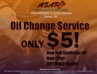 Oil Change Service - ONLY $5!! - Any Make, Any Model