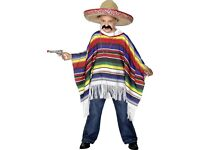 Kids Dressing Up Costume – Smiffy's Mexican Poncho and Hat, Unused