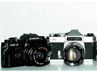 Chinon CE5 and 50mm 1.9 lens and Chinon CX and Soligor 200mm & 28mm lenses