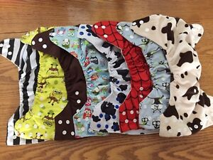 13 One Size Adjustable Cloth Diapers with Liners + Extra Liners