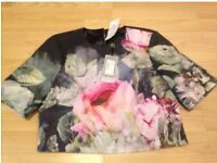 Ted Baker Pure Peony Ombre Crop Top Navy - Brand New With Tags!