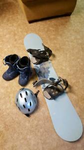 Snowboard, bindings, boots and helmet!!